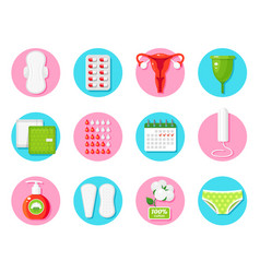Female hygiene products flat icons set vector
