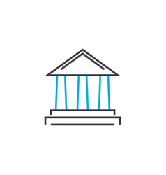 financial institution thin line stroke icon vector image