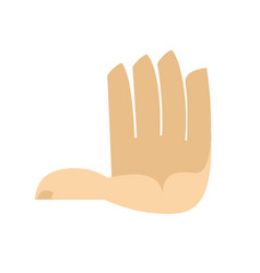 Five fingers hand isolated palm on white vector