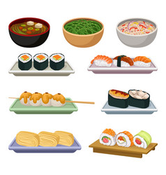 flat set of traditional japanese food vector image