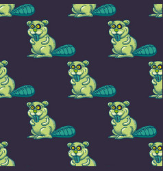 funny beaver seamless pattern vector image