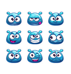 Funny cartoon blue jelly monster vector