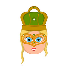 Girl avatar with mardi gras ornaments vector