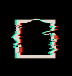 glitch distortion frame square vector image
