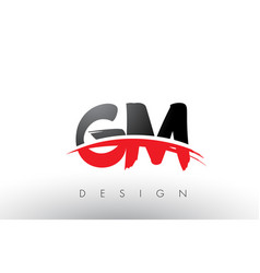 Gm g m brush logo letters with red and black vector