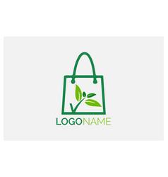 Green leaf grocery logo design vector