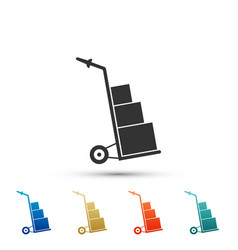 hand truck and boxes icon isolated dolly symbol vector image