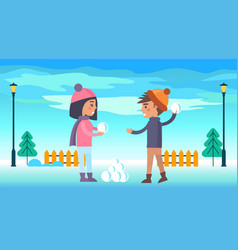 happy boy and girl running going to play snowballs vector image