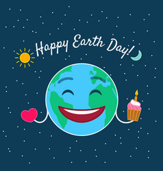 happy earth day greeting card vector image