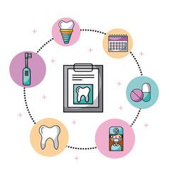 icon set dentist profession vector image