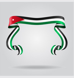 Jordanian flag wavy ribon background vector