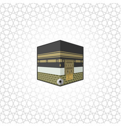 Kaaba building at center great mosque mecca vector