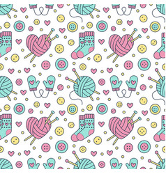Knitting sewing seamless pattern cute vector