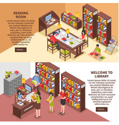Library isometric horizontal banners vector