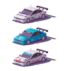 Low poly touring racing car vector