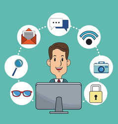 Man business digital marketing online working vector