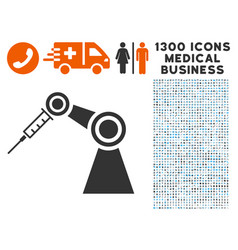 Medical inject robot icon with 1300 medical vector