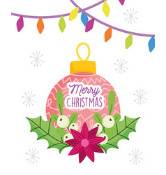 merry christmas celebration ball flower lights vector image