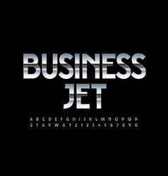 Metallic logo business jet silver alphabet vector