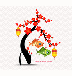 Mid autumn festival blossom tree and carp vector