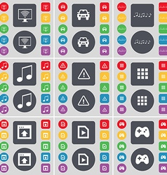 Monitor Car Notes Warning Apps Window Media file vector