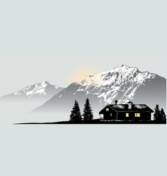 Mountain view with lonely house vector