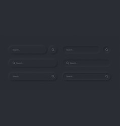 neumorphic search bars dark ui design elements set vector image