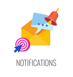 Notifications email in mailbox flat vector