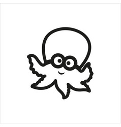 octopus icon in simple monochrome style vector image