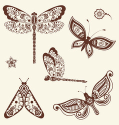 Of mehndi ornament - butterflies vector