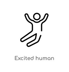 Outline excited human icon isolated black simple vector
