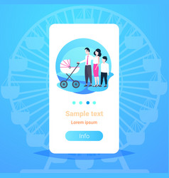 parents with son and bain pram walking together vector image