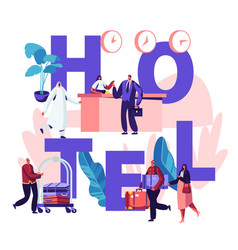 people in hotel concept reception lobinterior vector image