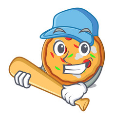 playing baseball pizza character cartoon style vector image