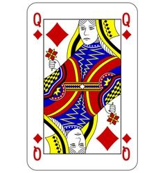Poker playing card queen diamond vector