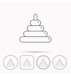 Pyramid baby toy icon Child tower game sign vector image
