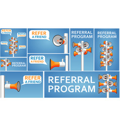 Refer a friend banners with megaphone vector