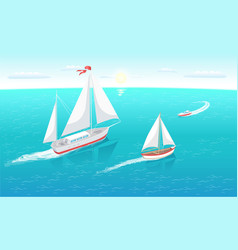 Sail boats with white canvas sailing in deep water vector