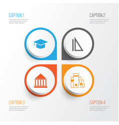 School icons set collection measurement vector