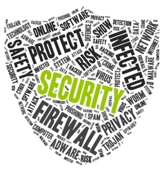 Security word cloud in a shape of shield vector