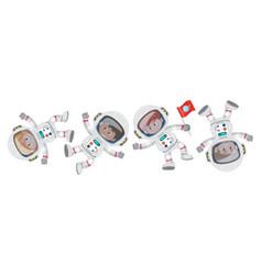 set different little astronauts cartoon vector image