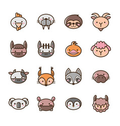 Set filled outline animal icons vector