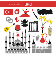 Set of country turkey culture and traditional vector