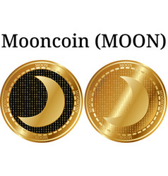 Set of physical golden coin mooncoin moon vector