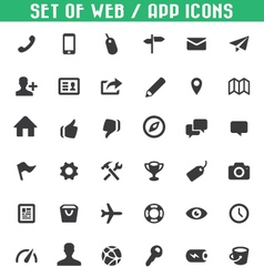 Set web app icons vector