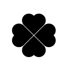 Shamrock silhouette - black four leaf clover icon vector