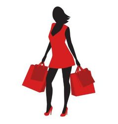 Silhouette of shopping vector image