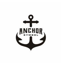 Simple silhouette anchor logo design for boat vector