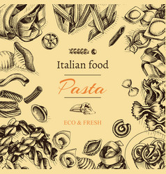 Sketch - pasta card italian vector