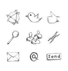 Sketch social network icons vector image